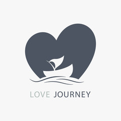 journey of love boat logo with heart shape background