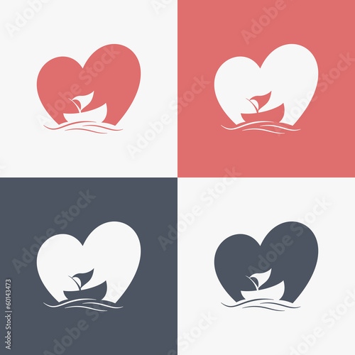 boat logo with heart shape background