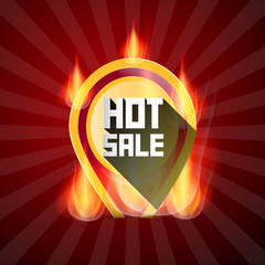 Hot Sale Yellow Label in Flames, Fire on Retro Red Background