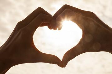 Hand Heart Sunrise Sunset