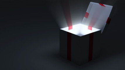 Animation of Opened Gift Box with Glowing Rays