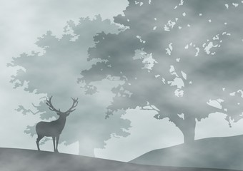 forest in mist - deer