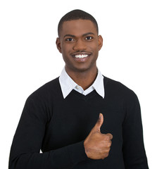 Portrait of happy young man giving thumbs up, white background