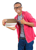Excited, happy young student in glasses, holding books,