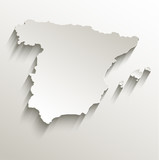 Spain map card paper 3D natural