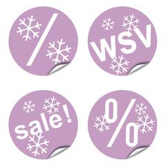 Vier Rabatt-Sticker, dekorativ, Trendfarbe