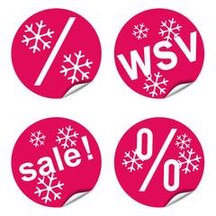 Vier Desinger-WSV-Button, rot