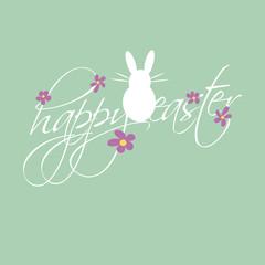 Abstrakter Osterhase mit Blumen und Ostergüßen