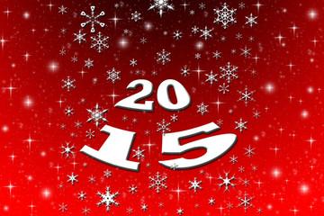 Hintergrund mit Lichtern und Schneeflocken für das Jahr 2015