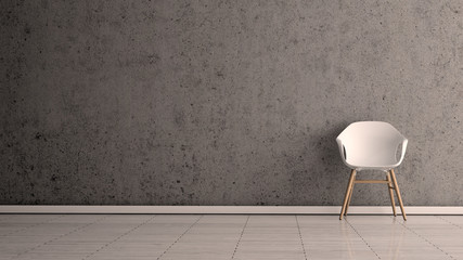 white chair concrete wall