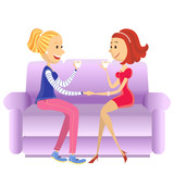 Lovers women sitting in room on couch