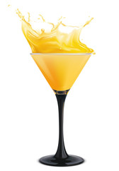 Orange cocktail with splashes. Vector illustration