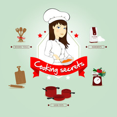 Woman chef vector illustration