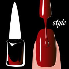 Nail polish red, on black background. vector
