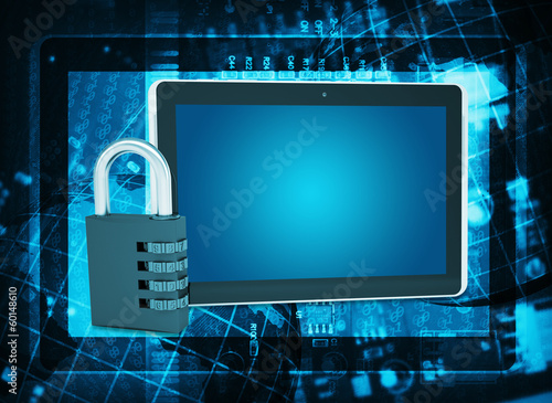 Tablet PC and code lock on abstract background