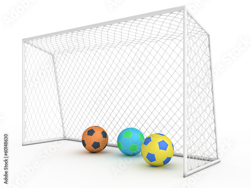 White football goal on a white background #7
