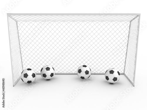 White football goal on a white background #3