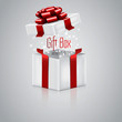 Open gift box with red ribbon. Vector