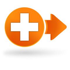 premiers secours sur symbole web orange
