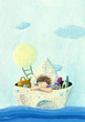 Little boy sailing in a paper boat