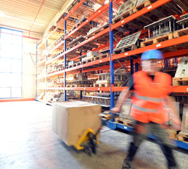 Logistiker im Warenlager // Warehouse shipping
