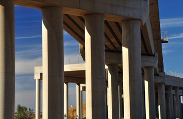 Fragment of massive bridge based on supporting columns