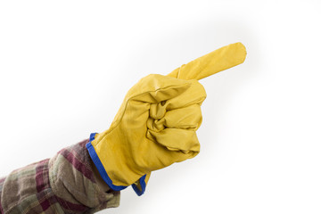 hand with protective glove pointing up