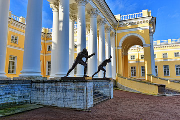 The exterior of Alexander palace in Pushkin,