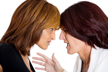 portrait of two angry mad woman fighting complaining each other