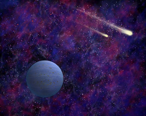 Comets and blue planet