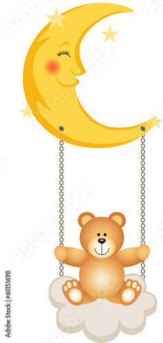 Teddy Bear Swinging in Moon