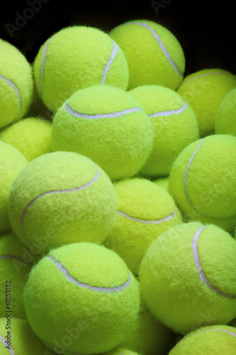 Pile of loose tennis balls