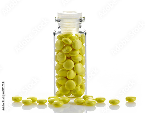 bottle of yellow valerian extract pills