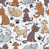 Cute seamless pattern with funny kittens
