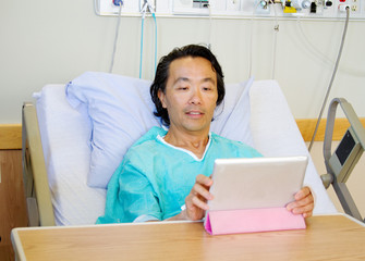 Patient looking at tablet