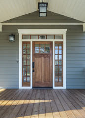 Exterior shot of a Wooden Front Door
