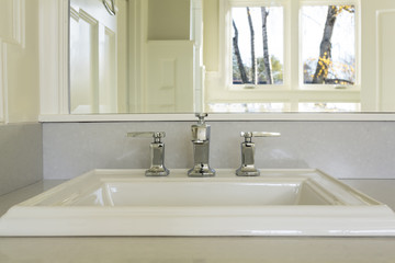 Counter top and sink in Upscale Master Bathroom