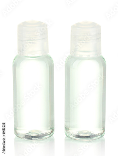 Hotel cosmetic bottles isolated on white