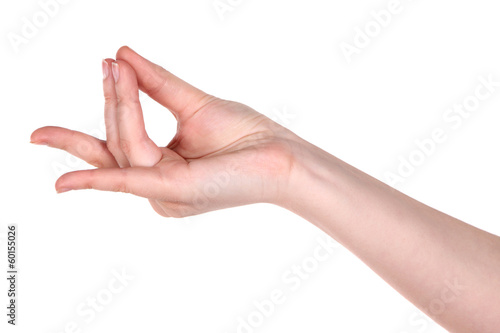 Hand yoga gesture isolated on white