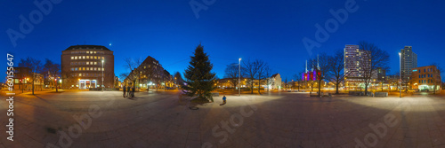 Hannover district Linden-Limmer at night. 360 degree panorama.