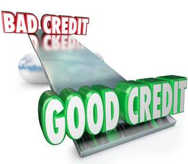 Good Credit Vs Bad See Saw Balance Scale Improve Rating