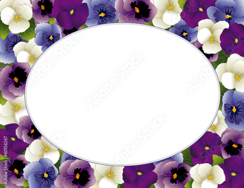 Pansy Flower Picture Frame, spring Violas, oval copy space