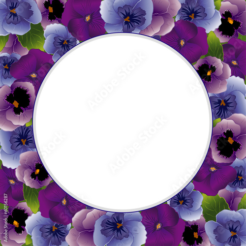 Pansy Flower Picture Frame, spring Violas, round copy space