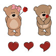 teddy bear cartoon love set