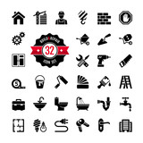 Web icon set - building, construction and home repair tools