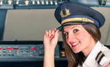 Young female Pilot ready for Takeoff