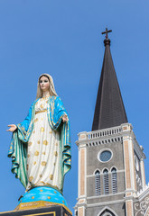 Virgin mary statue at the catholic church Chanthaburi, Thailand
