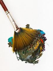 fan paintbrush blends multicolored watercolors