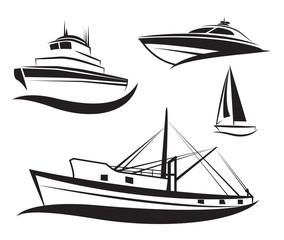 Vector black ship and boat set.