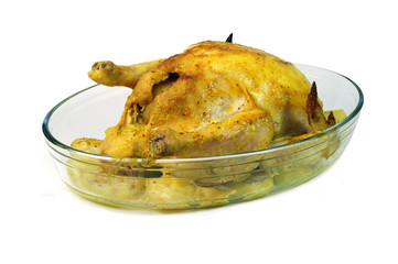 Chicken fied in glass plate